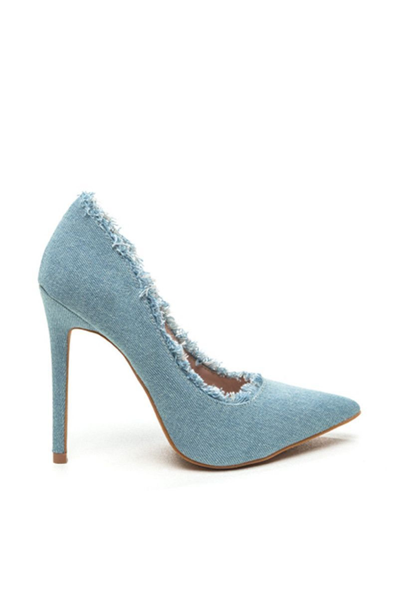 ea32eb3daba Go Jane Light Blue Denim Frayed Heel