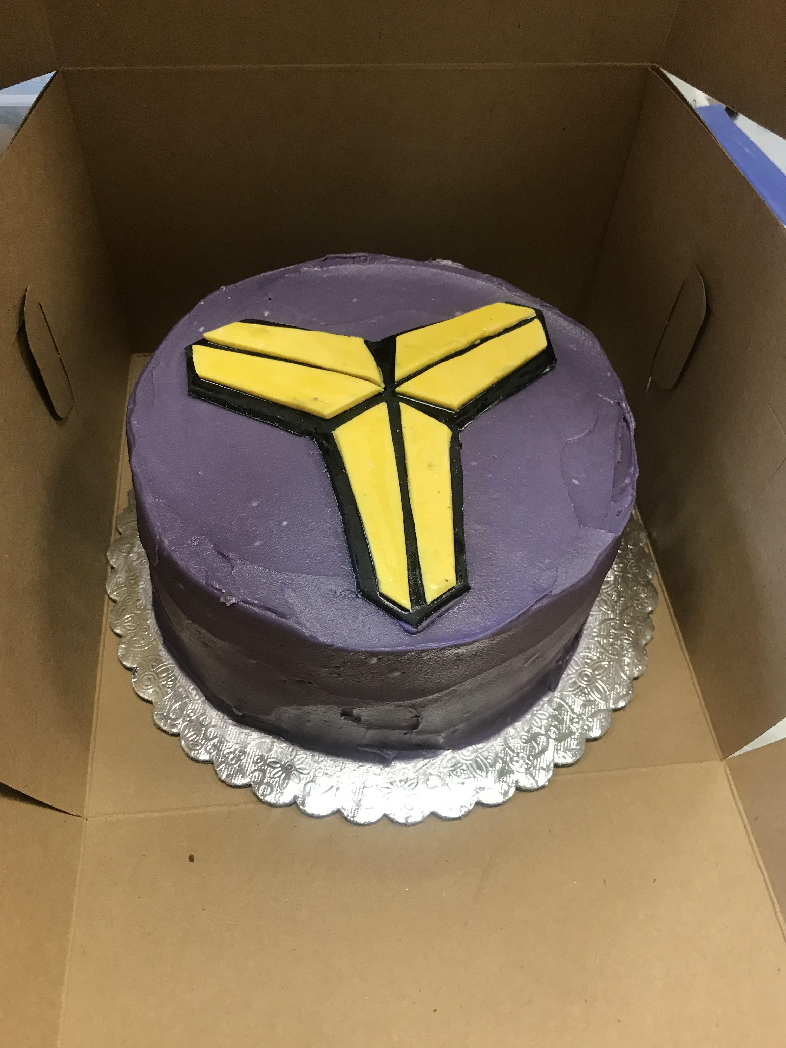 Custom Purple and yellow Kobe birthday cake Cake, Bakery