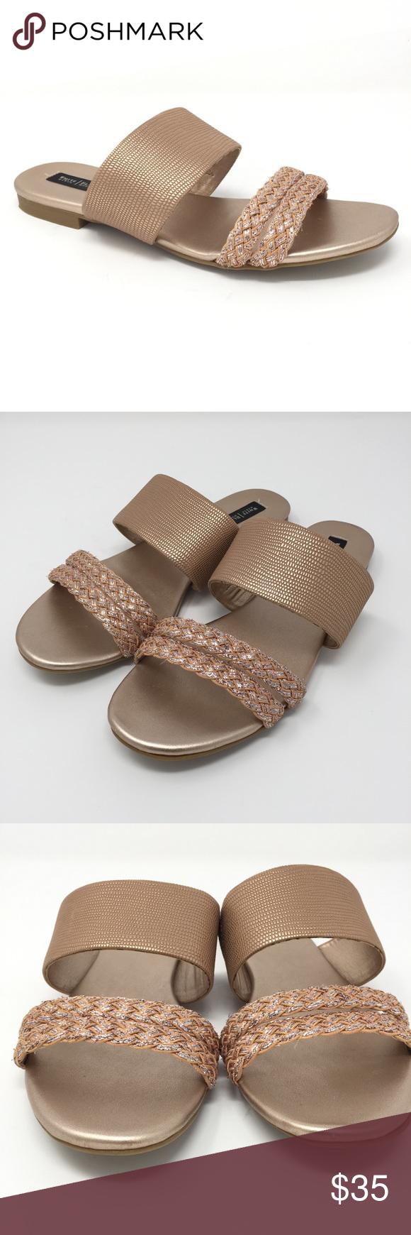 a0766341e20b 7.5 WHBM rose gold pixie metallic sandals White House Black Market size 7.5  pixie slip on