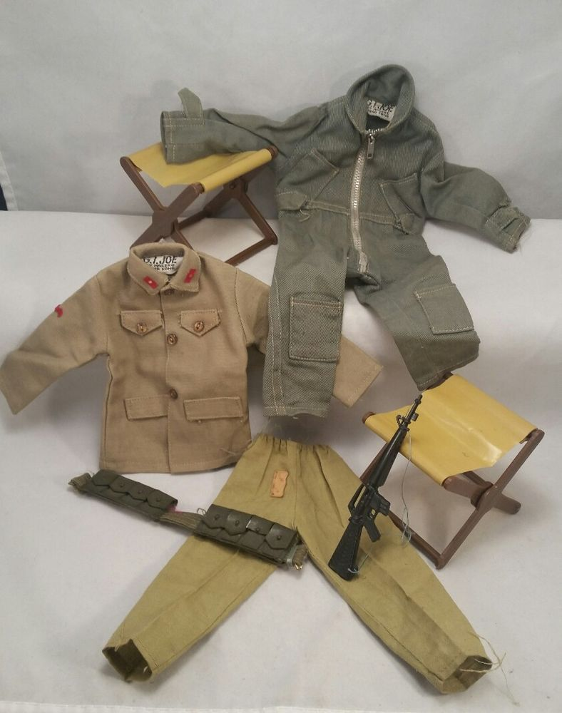 Vintage 1960s Hasbro Gi Joe Coveralls Blues Outfits Accessories Toy Doll Figure Outfit Accessories Blue Outfit Gi Joe