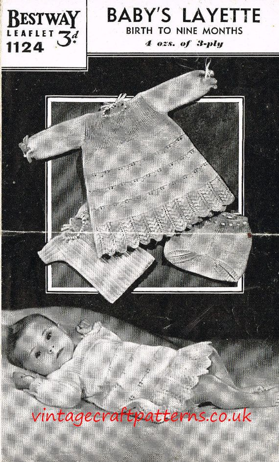9583d00bf4d2 Bestway 1124 vintage baby knitting pattern dress vintage baby ...