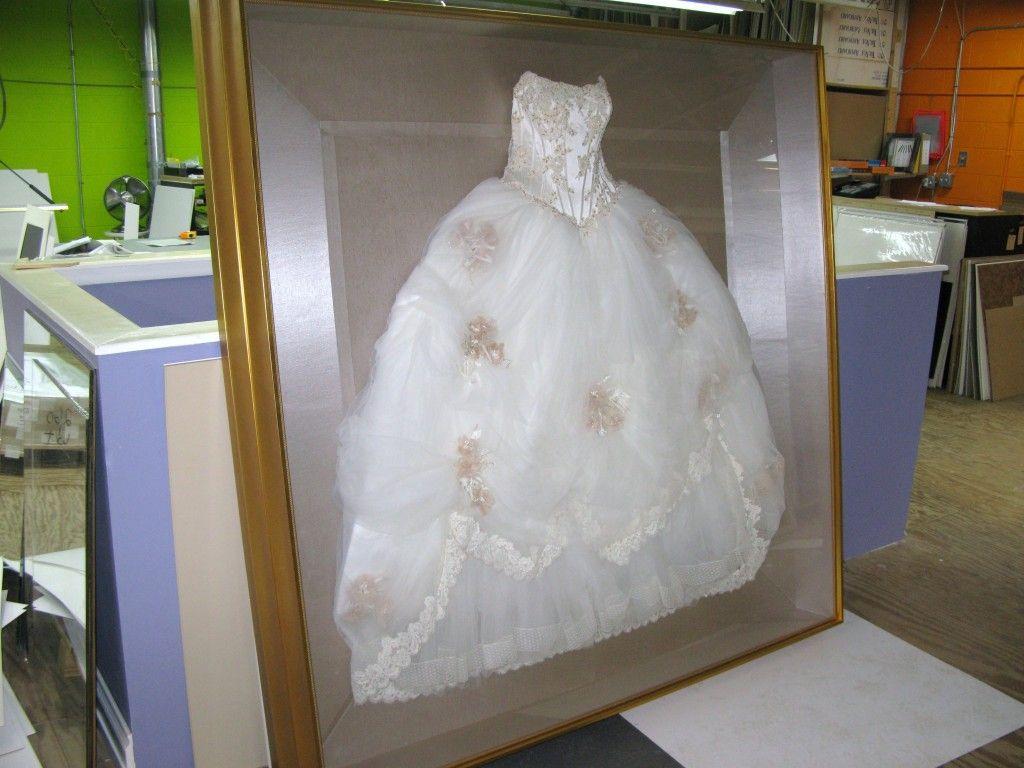 Shadow box wedding dress preservation dress ideas for Wedding dress shadow box