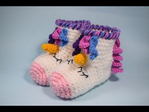 Botas O Pantuflas A Crochet Unicornio Muy Fácil Y Rápido Todas Las