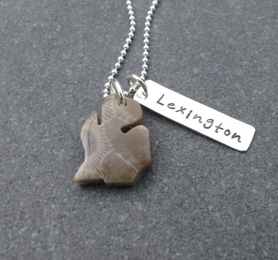 Michigan Shaped Petoskey Stone Charm With by klacustomcreations, $59.90