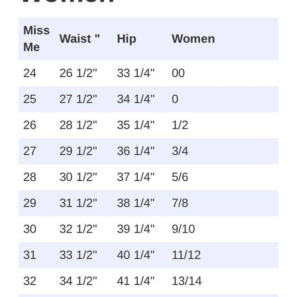 Jean Conversion Chart