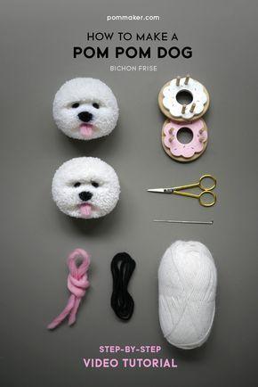 How to Make a Pom Pom Dog (Bichon Frise | Pompones, Lana y Patrones ...