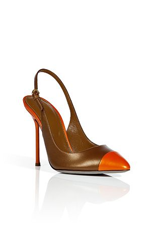 SERGIO ROSSI--- Mandarin and Bronze Sling Back Sandals | Stylin' and