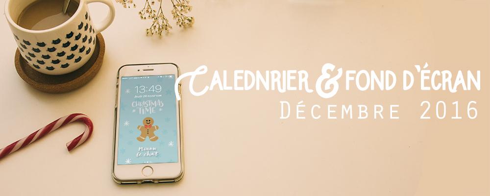 Calendrier de décembre 2016 et son fond d'écran - Minou le chat #decembrefondecran