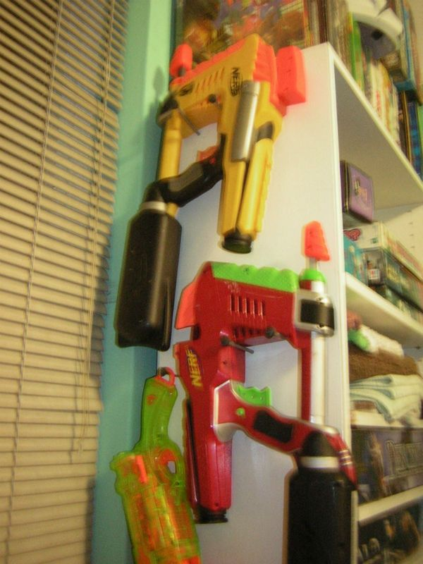 Nerf gun rack storage - Nail as pegs (no need for pegboard) Stored on