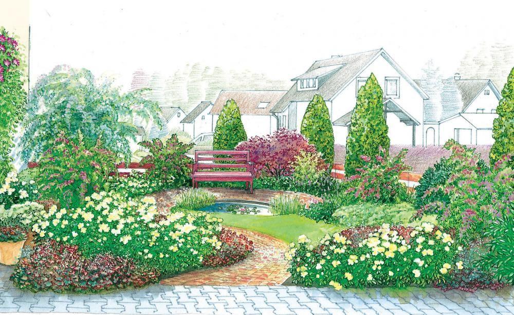Vorgarten als bl ten oase gardens garden landscaping - Pflanzplan vorgarten ...