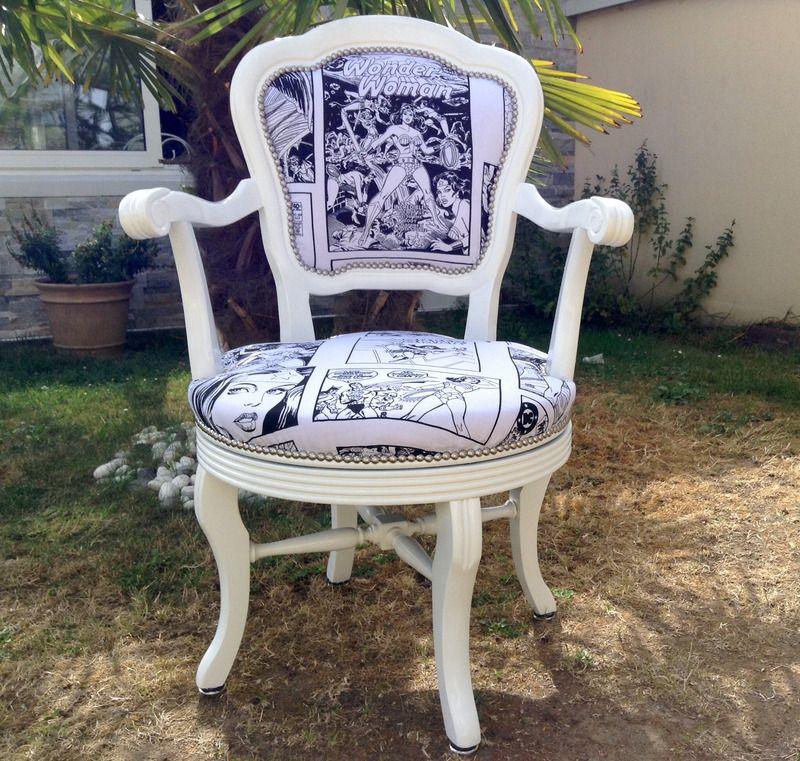 Fauteuil pivotant 360° blan noir Super Héros Shabby Chic - chaises et tabourets - Monautrefois ...