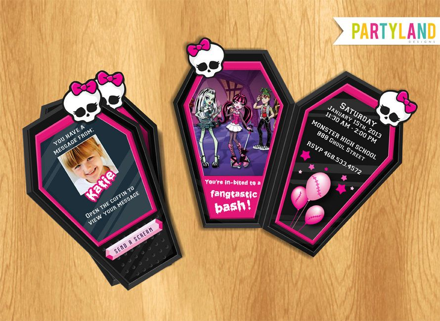 Monster High Coffin phone custom Party Invitation - Digital ...