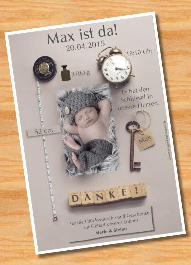 Danksagungskarten Geburt Geburtskarte MUSTER 96 - Bild vergrößern ...