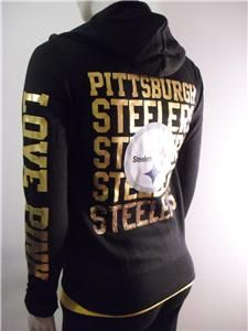 Victoria s Secret PINK Pittsburgh STEELERS Sequin Hoodie BLING ... a1f9d04ee