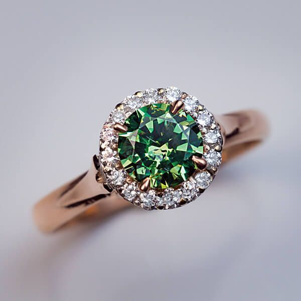 Russian Demantoid Diamond Rose Gold Engagement Ring Antique