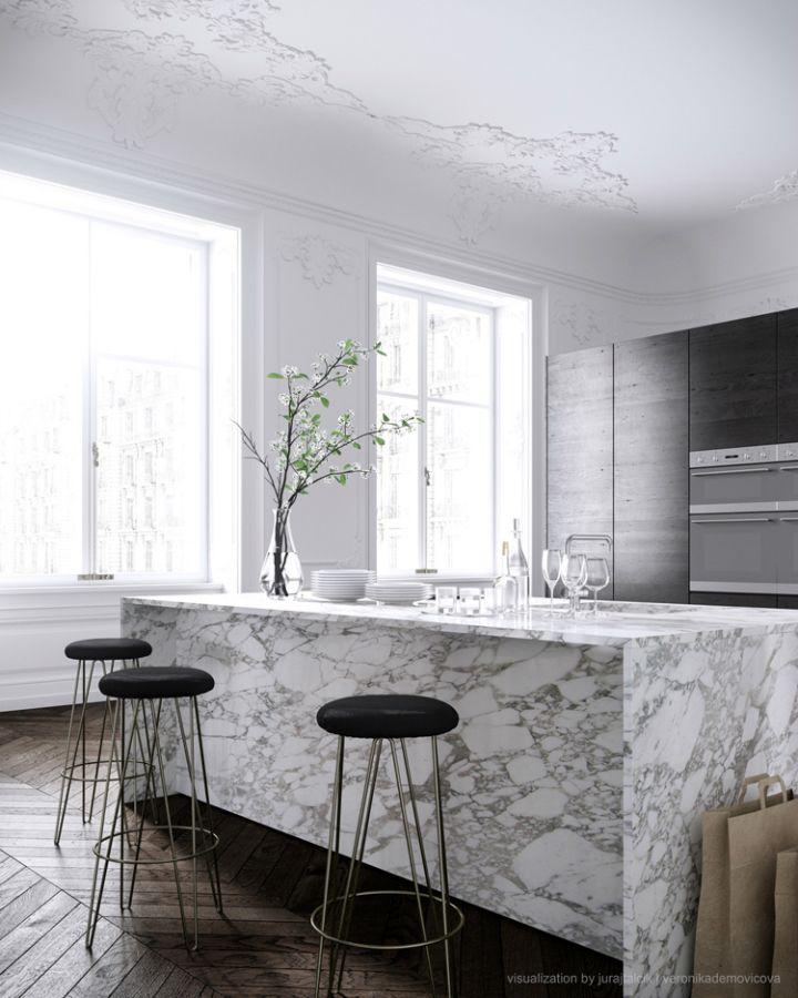 Gorgeous Modern French Design Interiors 40 Pics Decoholic Modern French Interiors Kitchen Marble Minimalist Kitchen