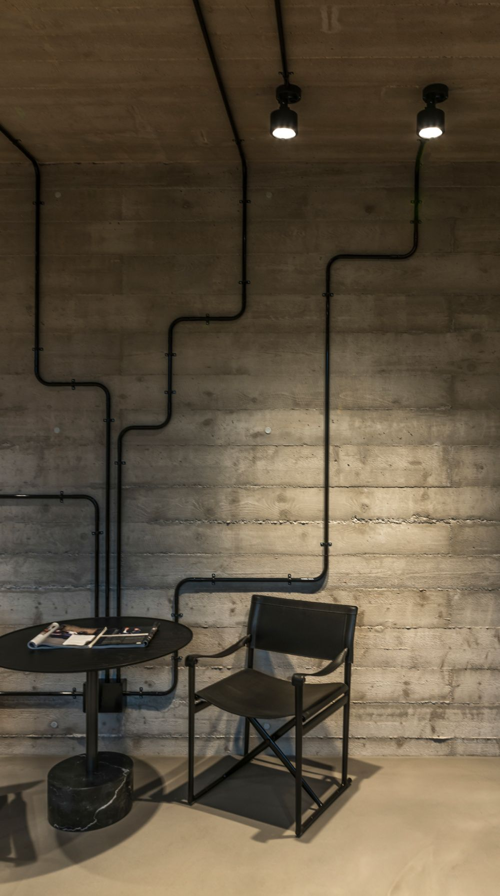 small resolution of accent erco lighting and surface mounted wiring as a graphic element interior wall surface wiring