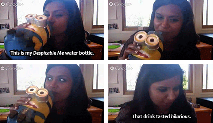 This Is My Despicable Me Water Bottle This Drink Tasted Hilarious The Mindy Project The Mindy Project Mindy Kaling Hilarious