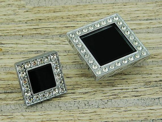 Crystal Glass Knobs Dresser Knob Clear Black Square Drawer Knobs