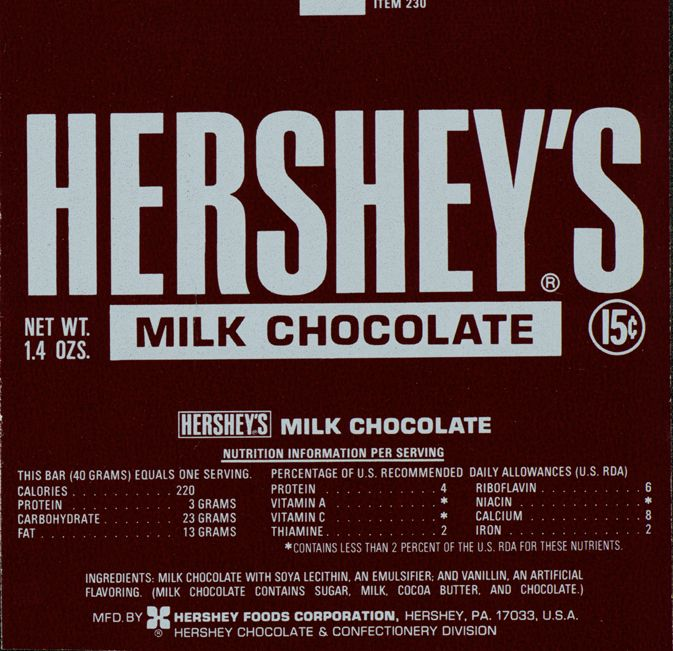 Hershey's Milk Chocolate Bar Wrapper, 1973-1976   Vintage ...