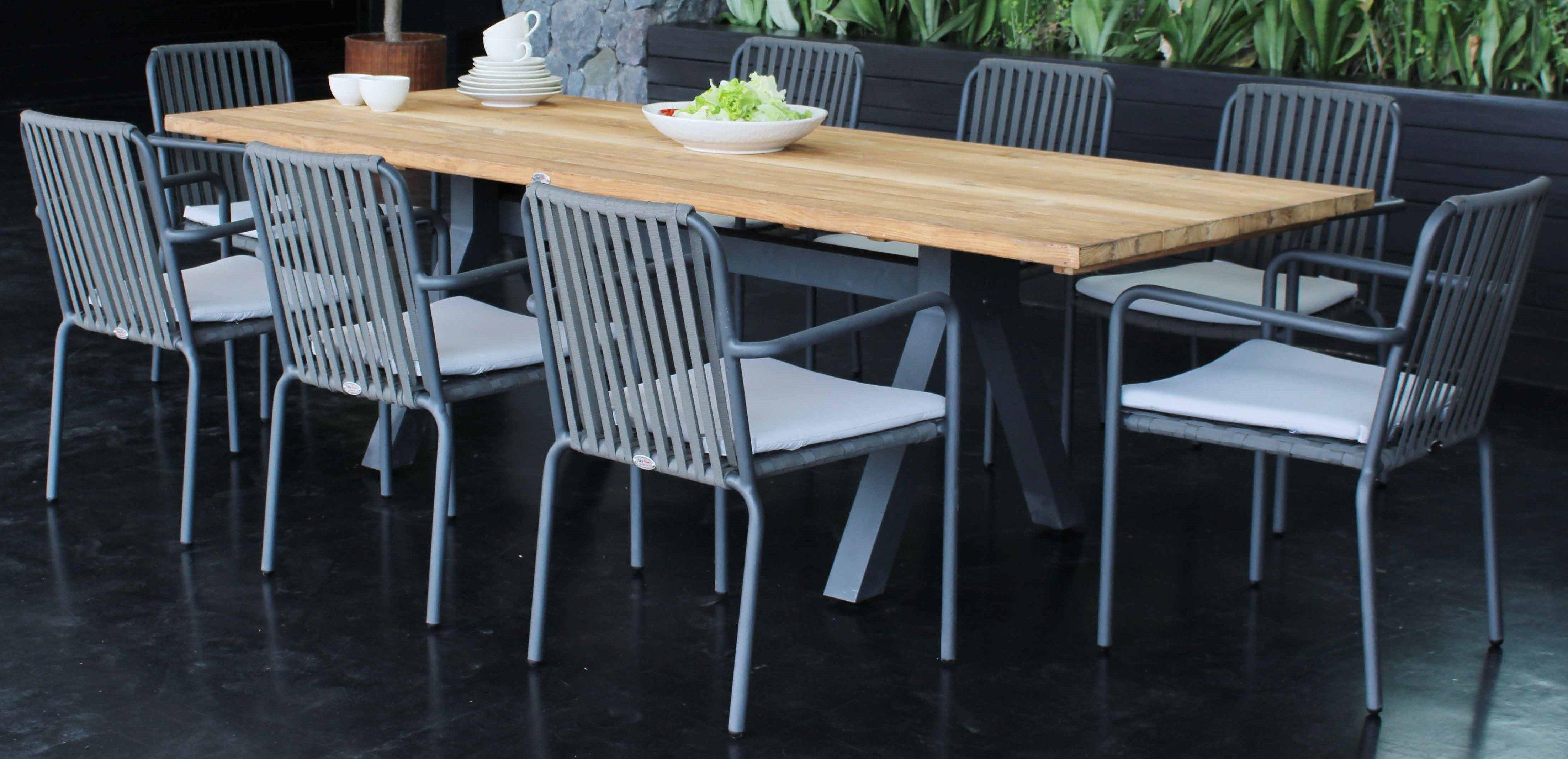 Alaska Outdoor 6 Seat Rectangular Dining Table In Dark Grey With