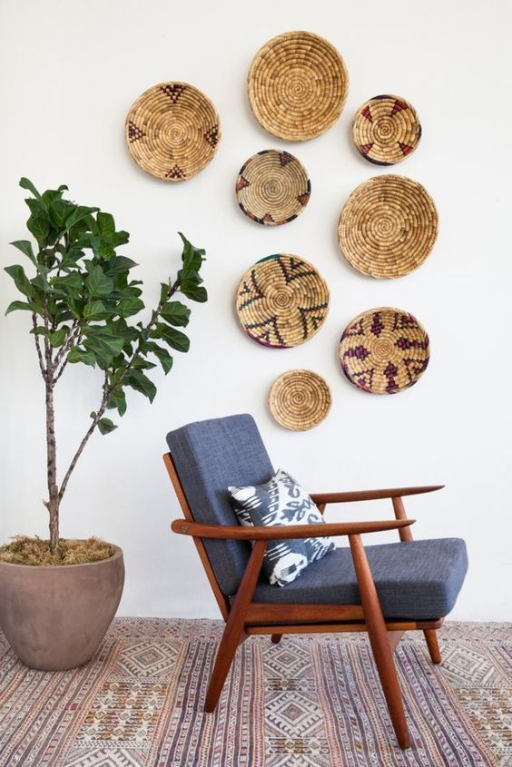 Wall Baskets Decor trend i'm into: woven baskets and plates as wall decor | wall