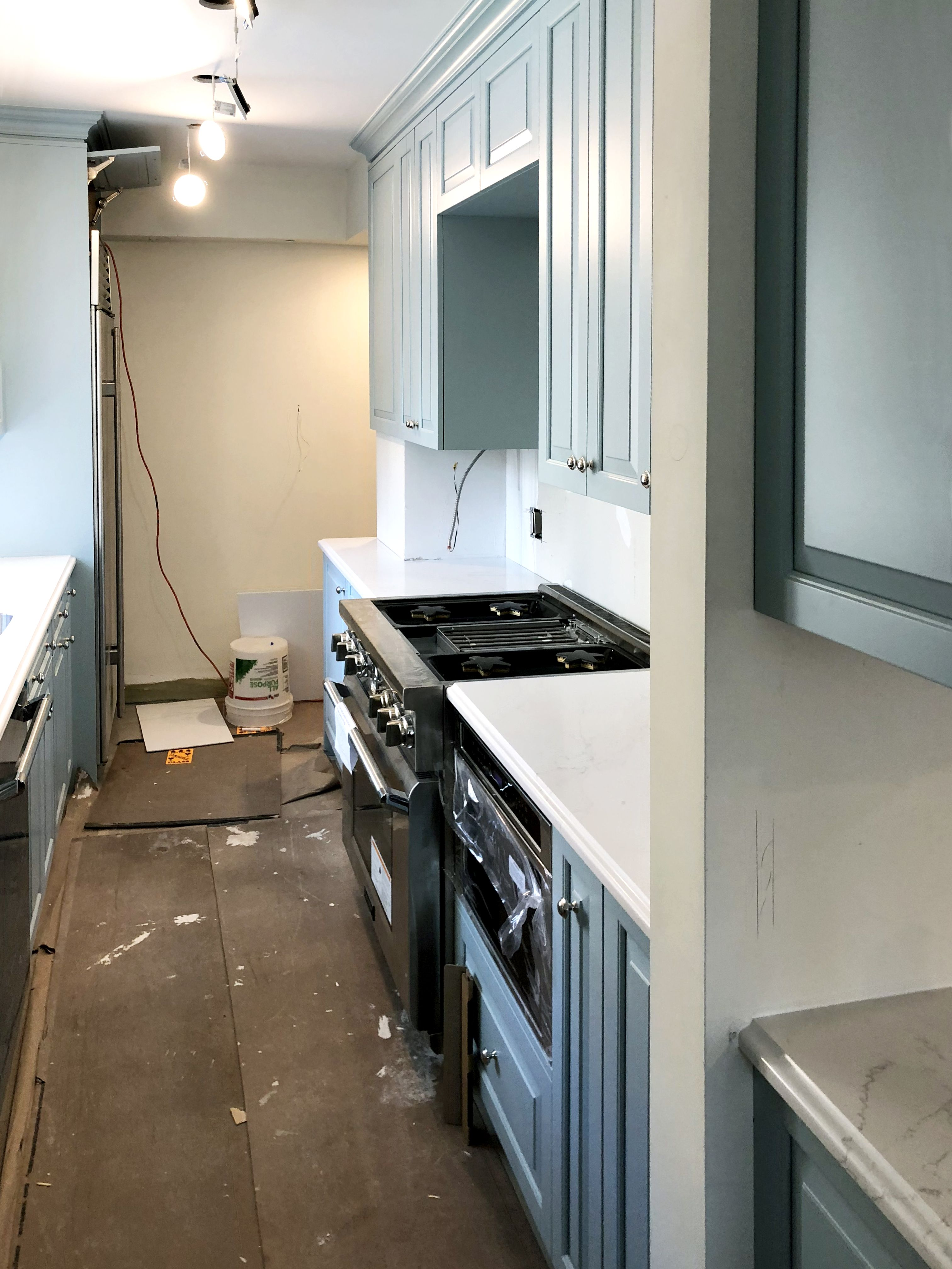 It S All Coming Together With The Addition Of The Custom Blue Behind The Scenes On The Kitchen Renovati