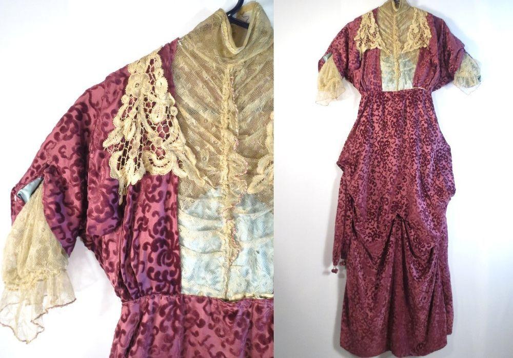 Vintage 1900s ANTIQUE TITANIC DRESS Amazing Cut Velvet BATTENBURG LACE Edwardian #Unbranded