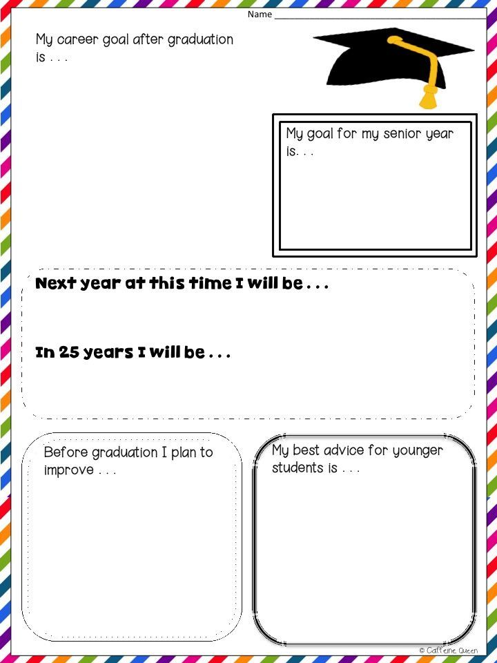 Graduation goal setting! Make a plan for the future!