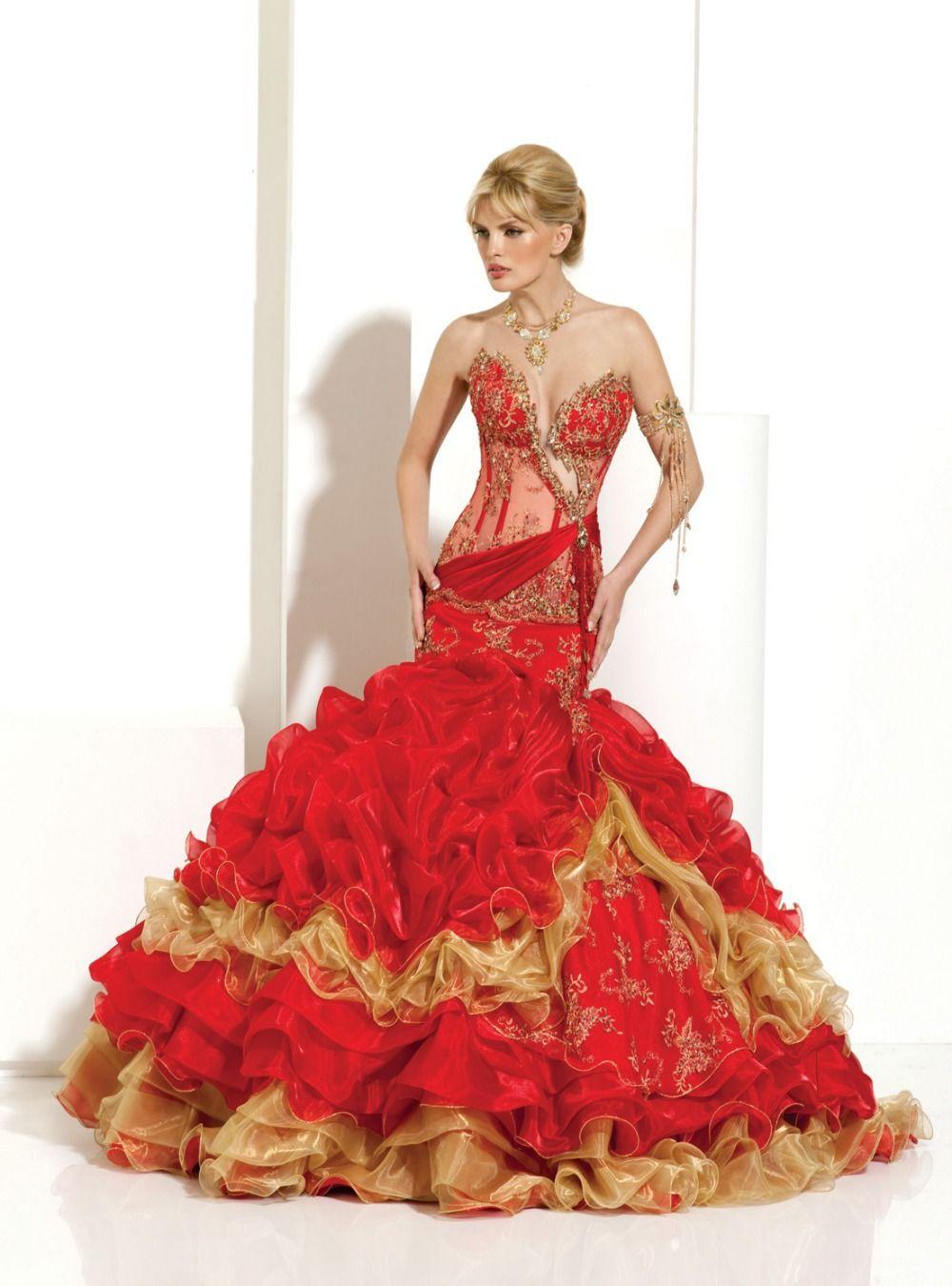 red and gold wedding dresses | wedding dresses | Pinterest | Gold ...