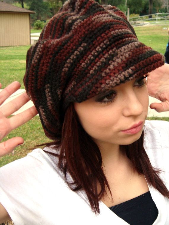 Newsboy Hat with Visor - Crochet Newsgirl Hat - Brimmed Crochet Hat ...