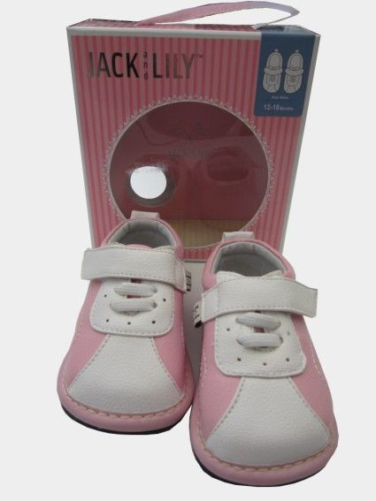BABY GIRLS JACK & LILY SPORT SHOES PINK AND WHITE These