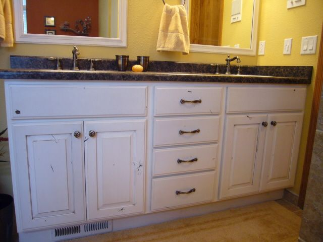 Knotty Alder Painted Vanity Gives A Rustic Feel White Bathroom Cabinets Interior Design Kitchen Painted Vanity