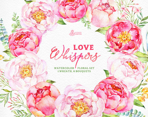 Watercolour flowers clipart FLORAL WREATHS pink flowers peony clipart wedding clipart DIY invite greeting card floral clipart handpainted
