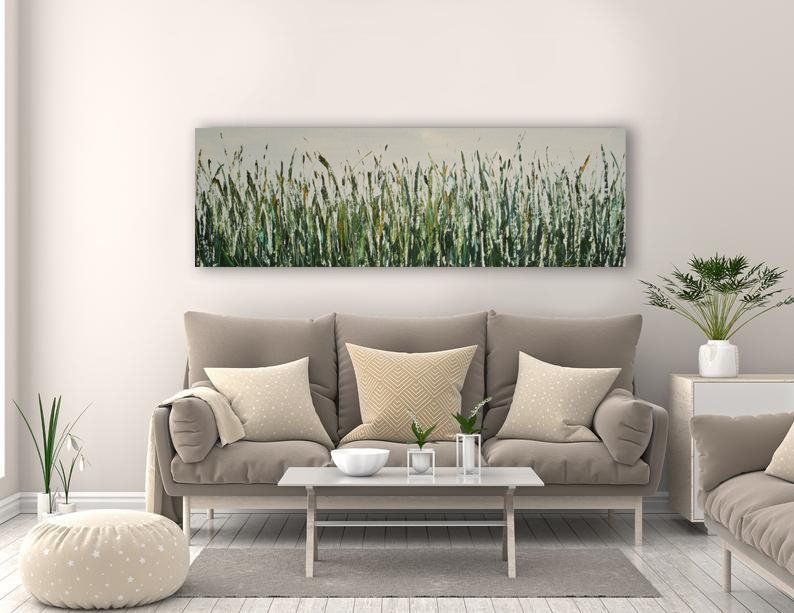 Farmhouse Greenery Art Narrow Horizontal Palette Knife Impasto Etsy Horizontal Wall Art Green Artwork Extra Large Wall Art