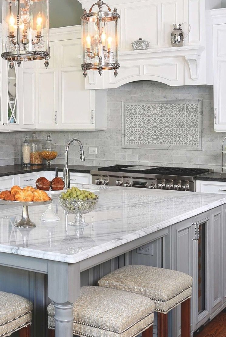 This Backsplash, Featuring Our Charmed Pattern, Was Featured On The  September 2016 Cover Of · Kitchen Cabinets Grey And ...