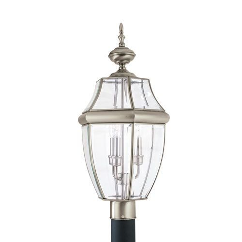 Lancaster Antique Brushed Nickel 12-Inch Energy Star Three-Light Outdoor Post Lantern