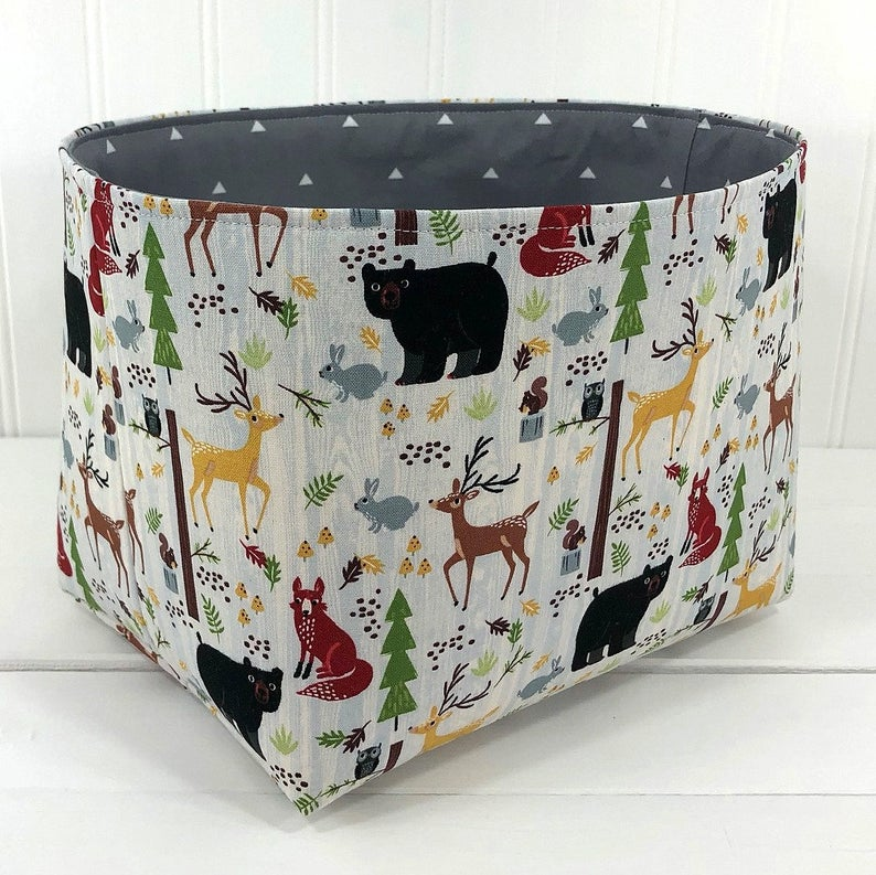 Fabric Storage Bin Organizer Storage Basket Toy Storage Etsy Fabric Storage Bins Storage Baskets Woodland Animal Baby Shower