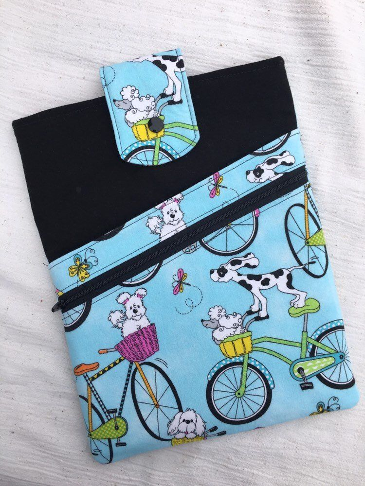 Book Sleeve with Open Pocket and Zipper Pocket, Padded for