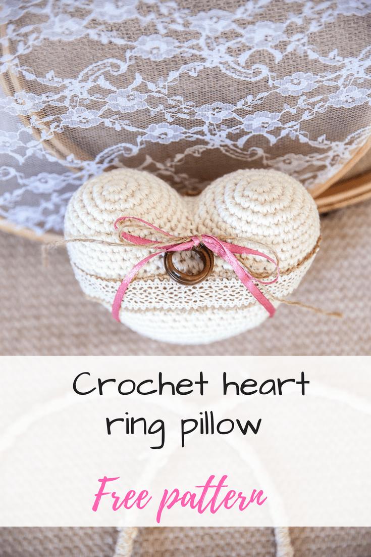 Crochet heart ring pillow free pattern