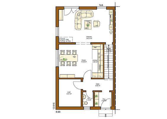CLOU 132 Grundriss Erdgeschoss gerade Treppe Doppelhaus