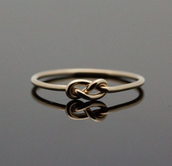 Gold Infinity ring. Solid 14K Gold knot ring. Knot promise ring. Yellow 14 Karat Gold. via Etsy
