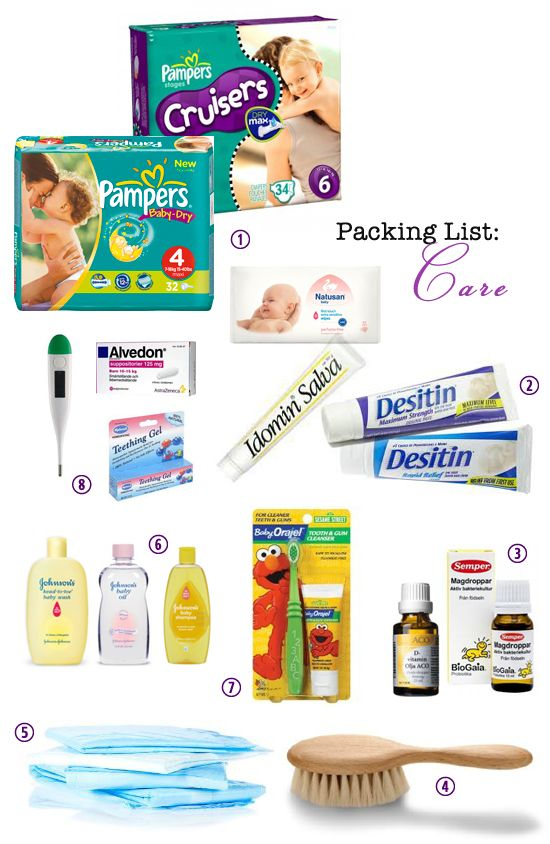 Packing List: changing and care  What to bring when traveling with a one-year old