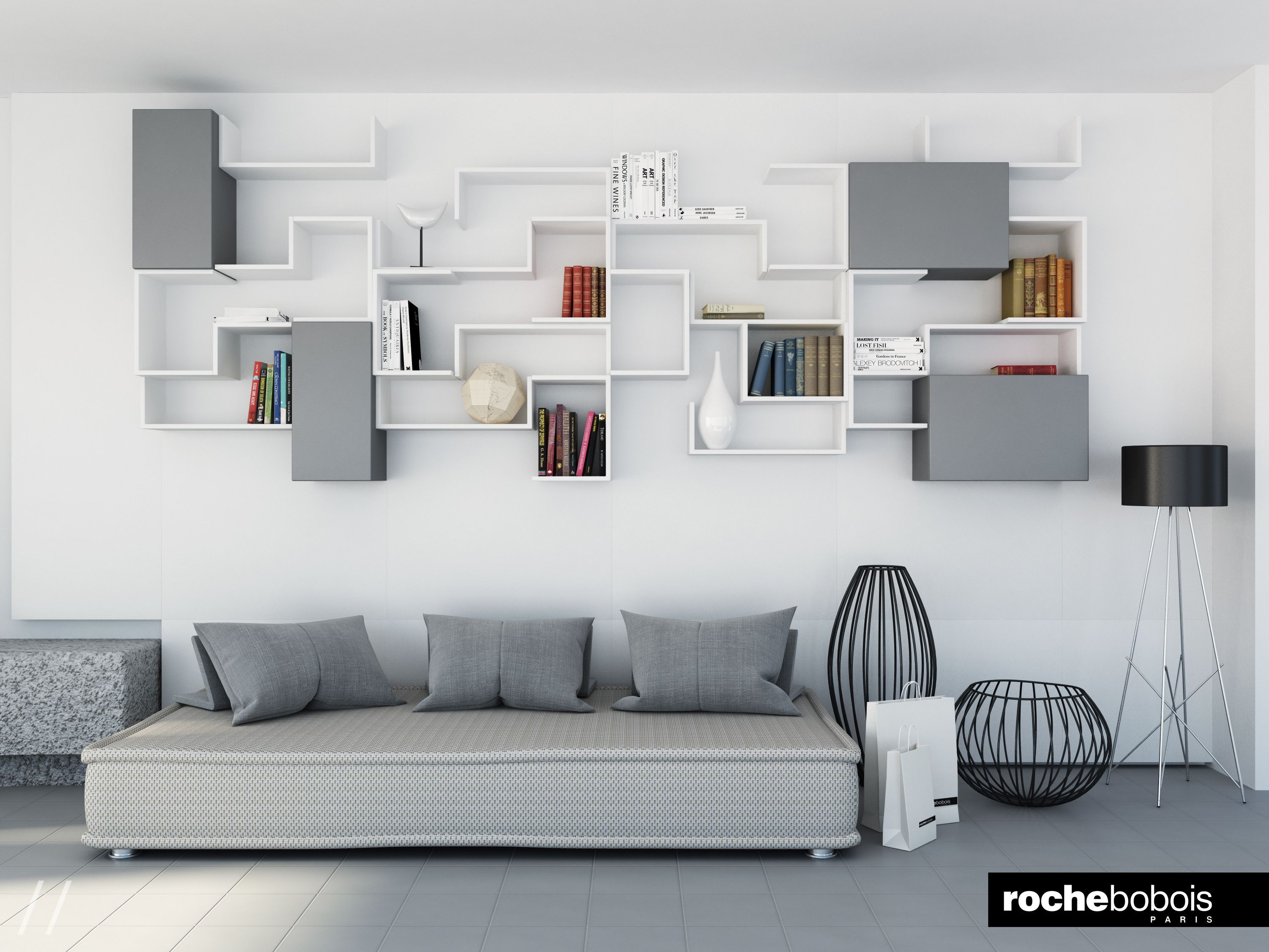 Living Room in toni neutri Canape Sofa Roche Bobois
