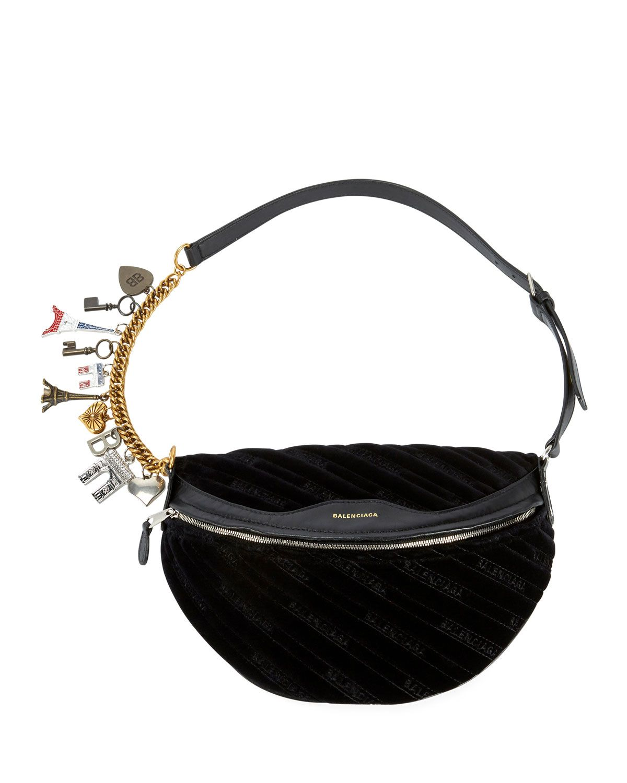8ced9c9907c5 Balenciaga Souvenirs XS Velour Fanny Pack Belt Bag w Charms