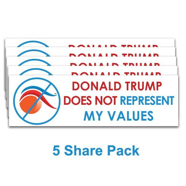 1 Stop The Donald 2020 Removable Anti Trump Bumper /& Window Stickers Not My Values STD