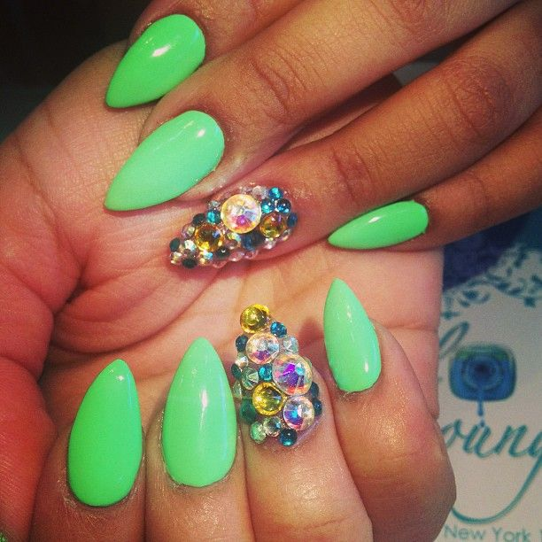 Green Pointed Nails With Bling