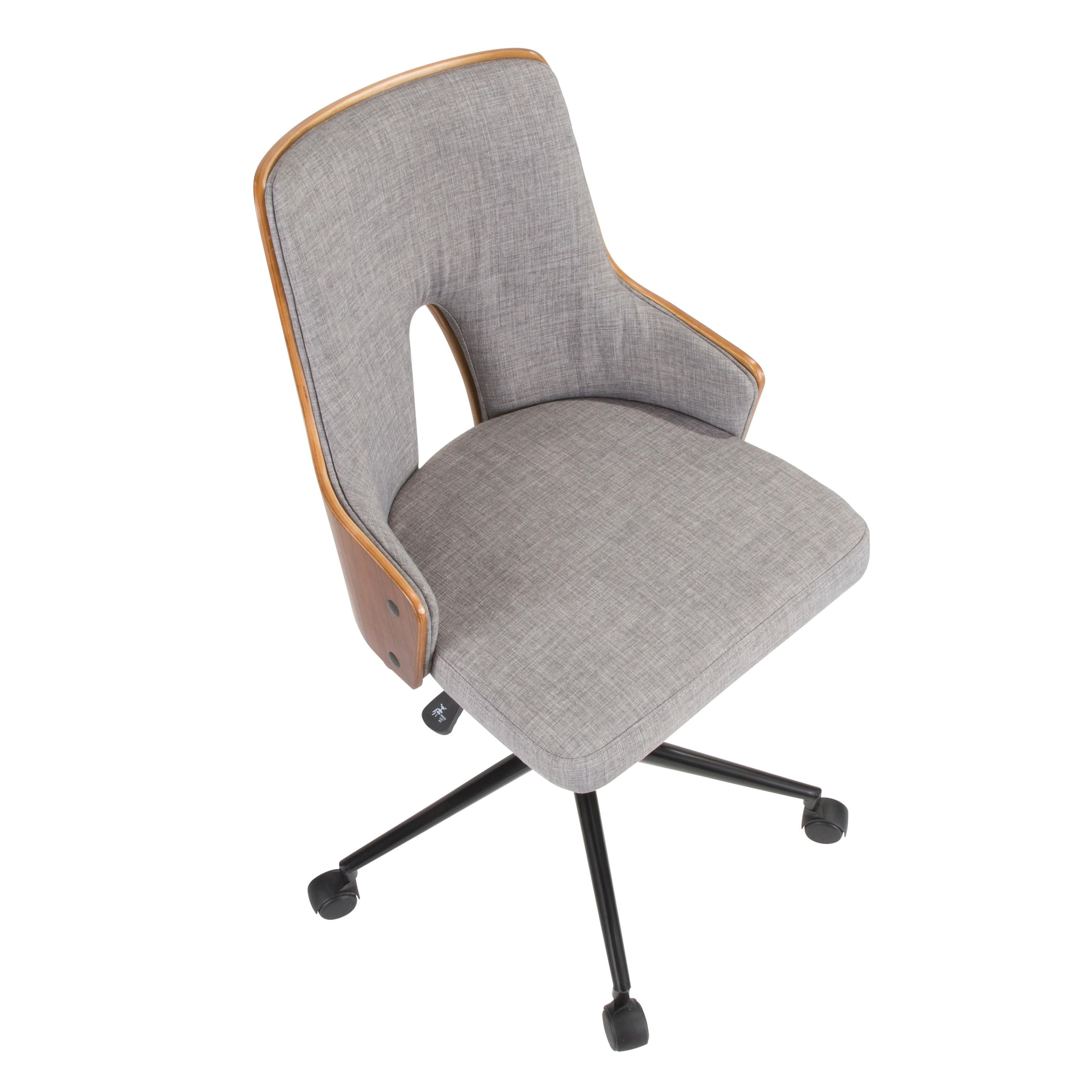 Mid Century Gray And Walnut Office Chair Stella Mid Century Modern Office Chair Modern Office Chair Mid Century Modern Office
