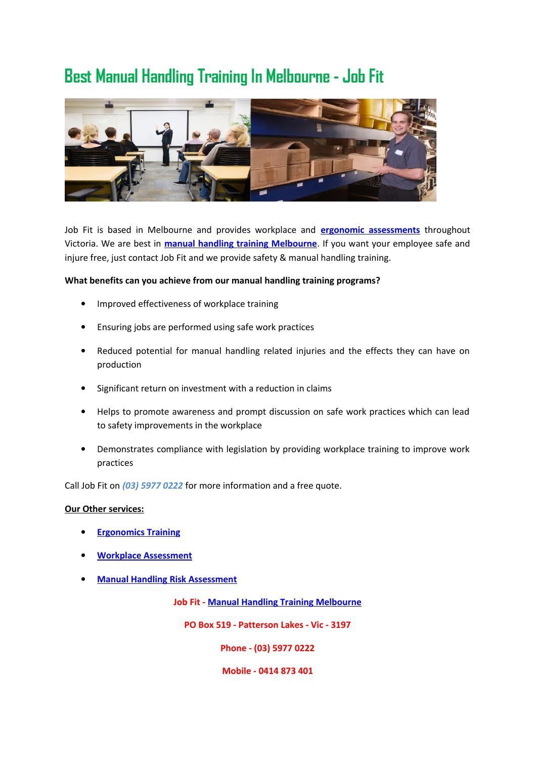 Best manual handling training in melbourne job fit (With