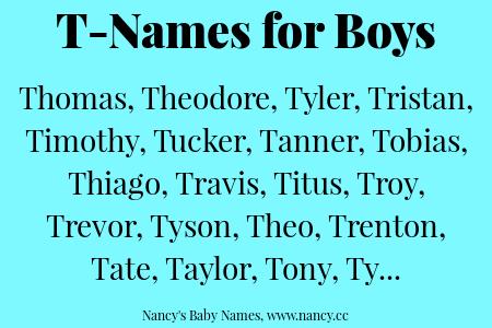 T-Names for Baby Boys | T boy names, Baby names, American boy names